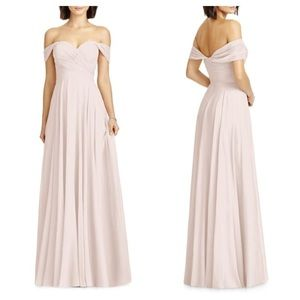 Dessy Collection Off the Shoulder Chiffon Gown
